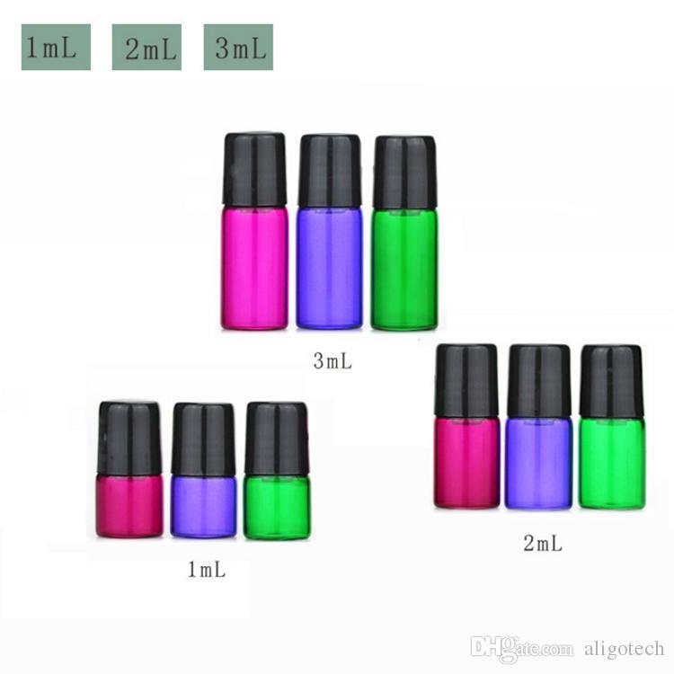Colorfu 1ml 2ml 3ml Purple Green Red Glass Bottles Empty Roll on Glass Bottles for Essential Oil Bottle 1cc 2cc 3cc Sample Bottles