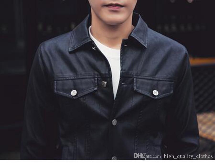 Europa Primavera Homens moda casual nova versão coreana de baixo-slim design curto jaqueta de couro casaco / M-2XL