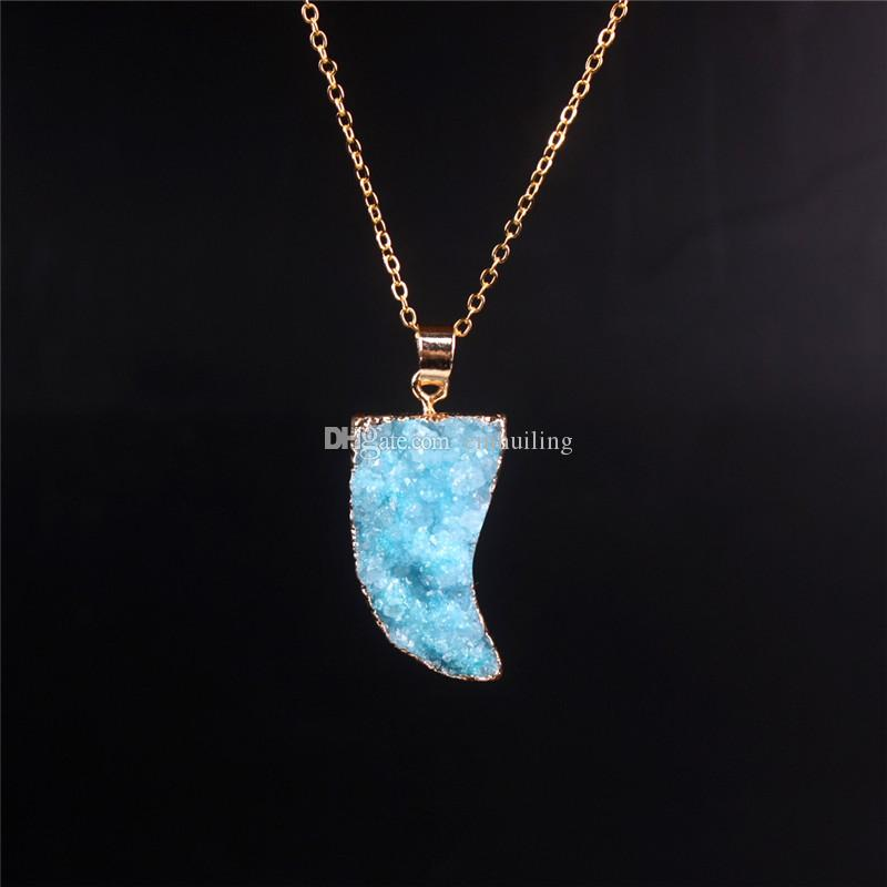 Stylish Choker Necklace for Women Female 2016 Ox Horn Cute Moon Quartz Pendant Real Pink Druzy Necklace Gold Plated Bezel Pendant Necklace