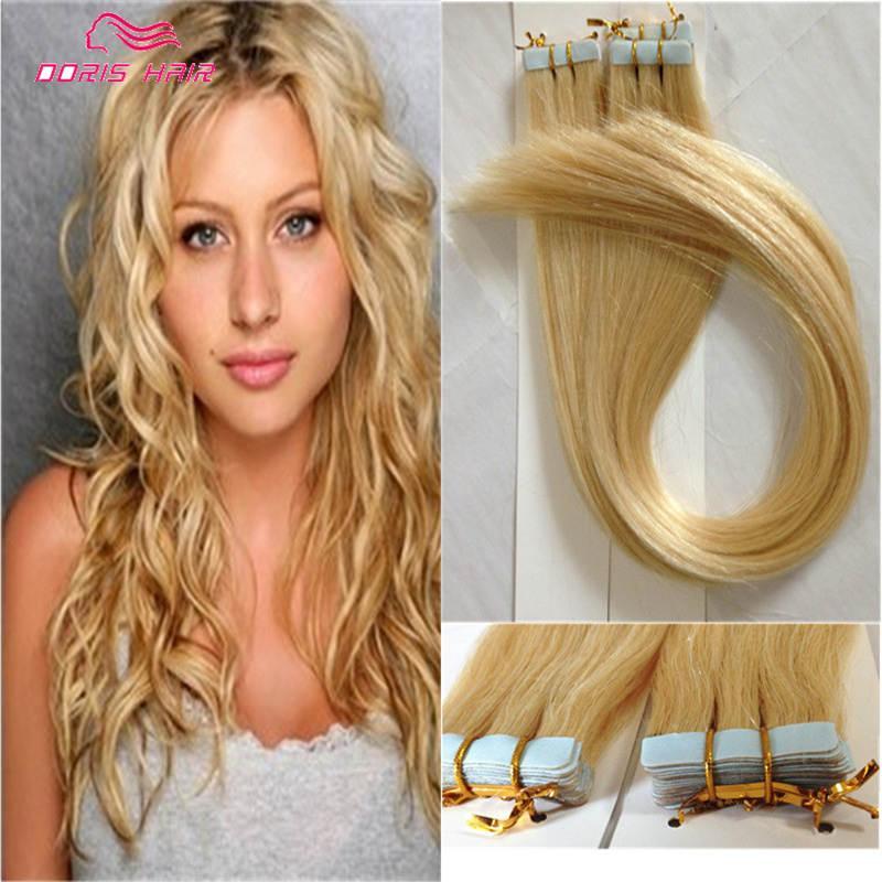Blonde Tape Hair Extensions 100g Brazilian Human Hair Cheap Tape In