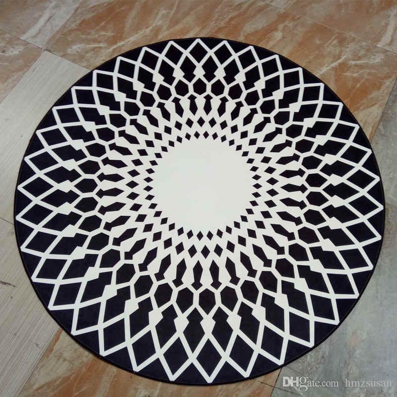 Black White Modern Floor Rug Mats Round For Living Room Decoration