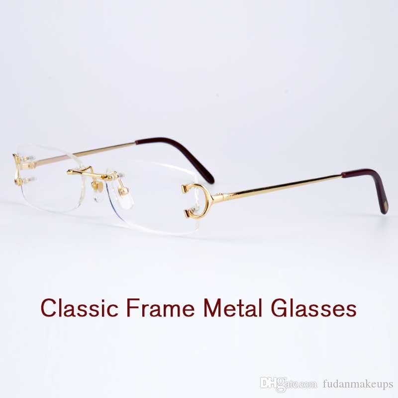 7f46d40468 High Quality Eyeglasses Rimless Frame Metal Legs Double Screw Fixed Mirror  Mens Prescription Glasses Womens Optical Frames With Original Box Discount  ...