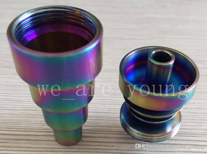 Rainbowl colorido anodizado 6 en 1 uñas de titanio domeless gr 2 uñas de titanio colorido 10mm14mm19mm con articulación masculina y femenina