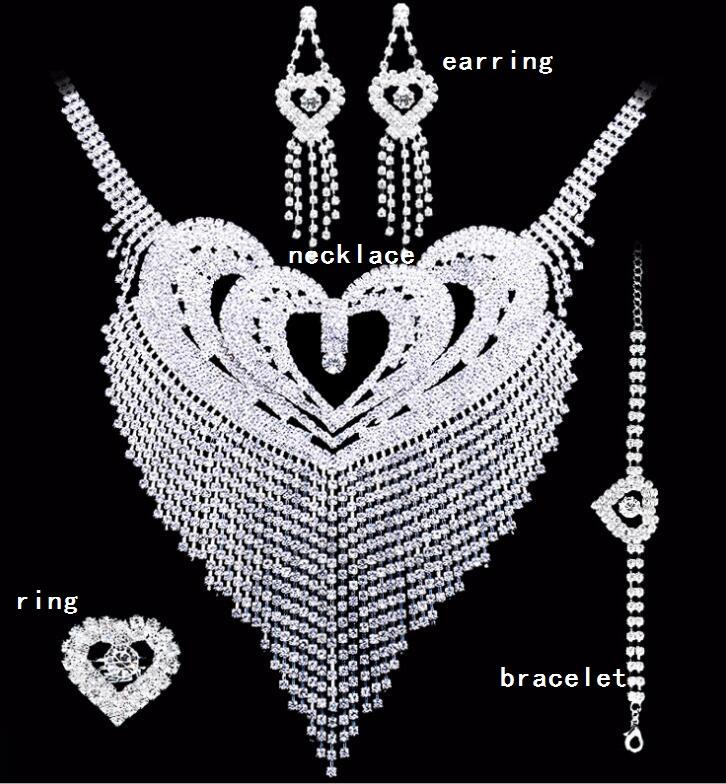 신부의 보석 세트 크리스탈 웨딩 귀걸이 목걸이 반지 팔찌 액세서리 한 세트는 4 개 세트 고급 패션 새로운 스타일의 HT124를 포함
