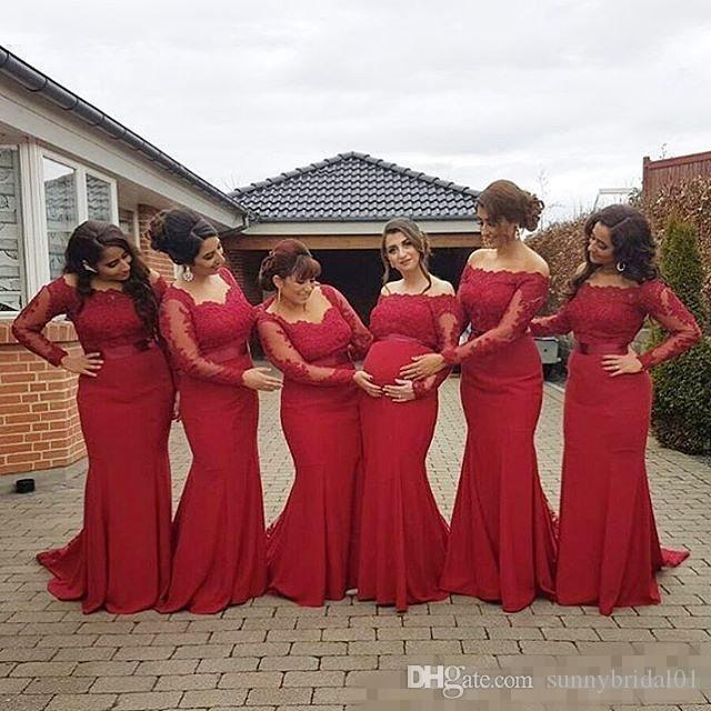 2017 New Arabic African Style Red Bridesmaid Dresses Plus Size Maternity Off Shoulder Long Sleeves Lace Backless Pregnant Formal Dresses