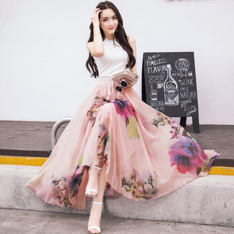 4d2381928d3 2019 New Fashion Elastic Waist Casual Chiffon Skirt Summer Bohemian Floral  Print Beach Maxi Flower Long Skirt For Women From Cooldancing