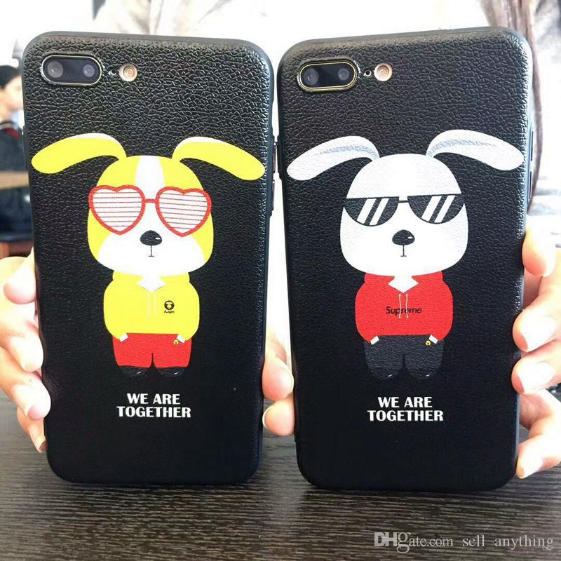 For Iphone X Phone Cases The New Embossed Animal Cartoon Dog Silicone Skin Pattern Cell Phone Case For Iphone 6 7 8 Plus