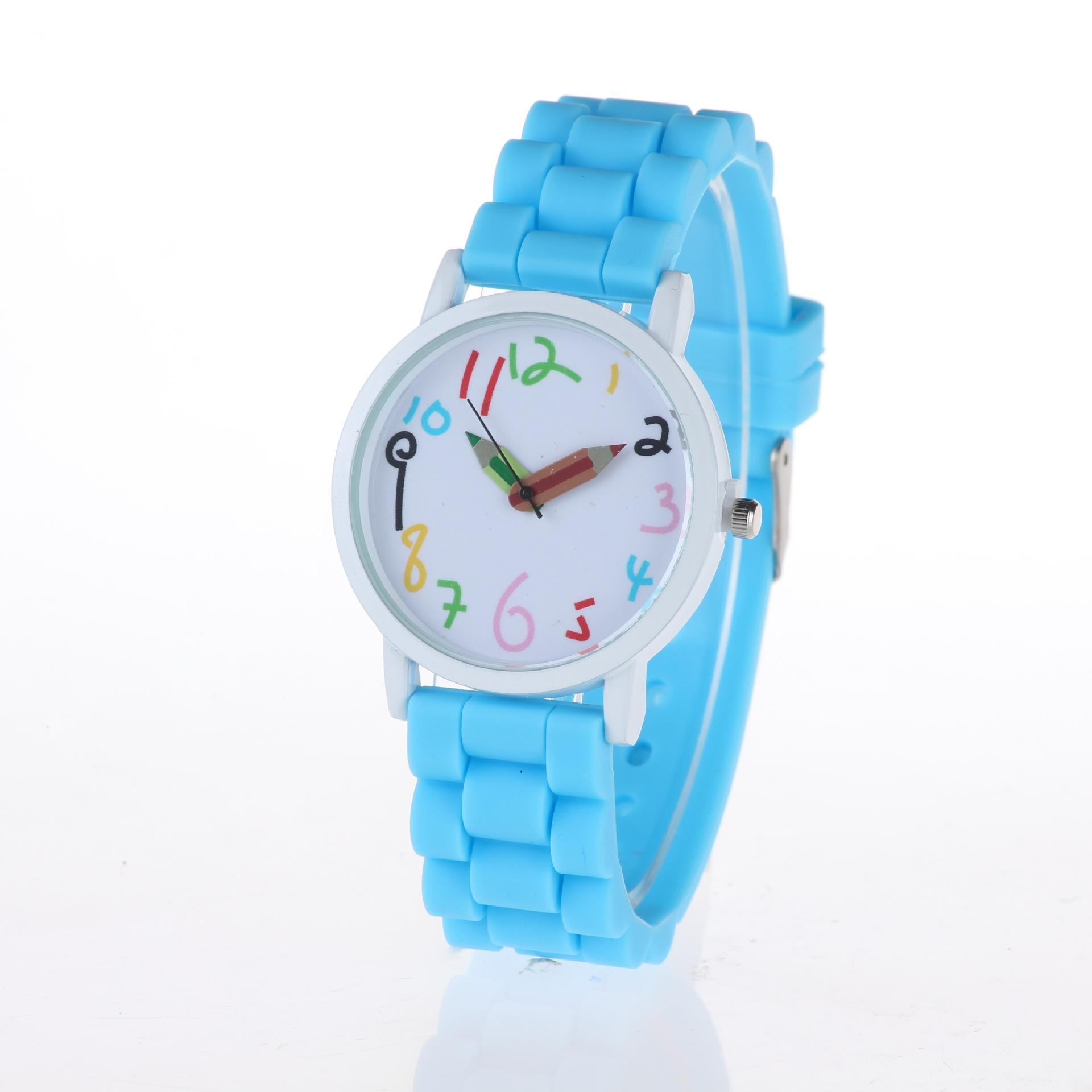 Geneva imitation leather watch Popular Simple fashion big dial silicone watch students font creative children watch candy color pencil point