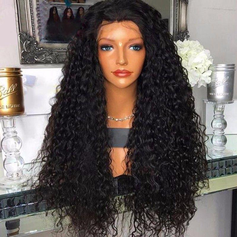 Tam Dantel İnsan Saç Peruk Ön Koparıp Brezilyalı Kinky Kıvırcık Remy Saç Doğal Siyah 8-26 inç