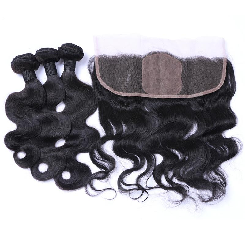 Free Part Body Wave Silk Base Ear To Ear Lace Frontal With Virgin Human Hair 3Bundles For 3Bundles