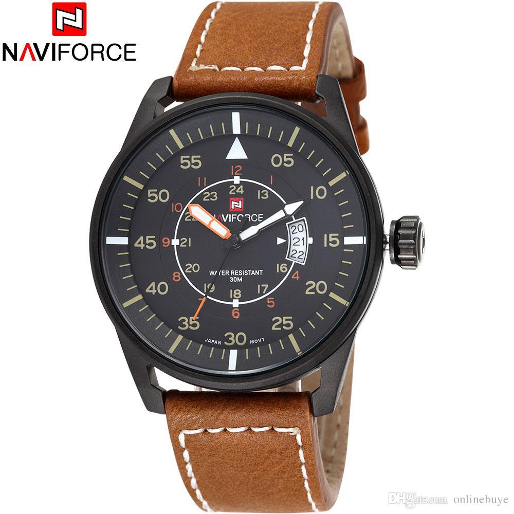 72c5697288ba Compre Relojes De Hombre NAVIFORCE 9044 Marca De Lujo Reloj De Cuarzo Buceo  30M Casual Ejército Militar Reloj Deportivo Cuero Relogio Masculino A   15.22 Del ...