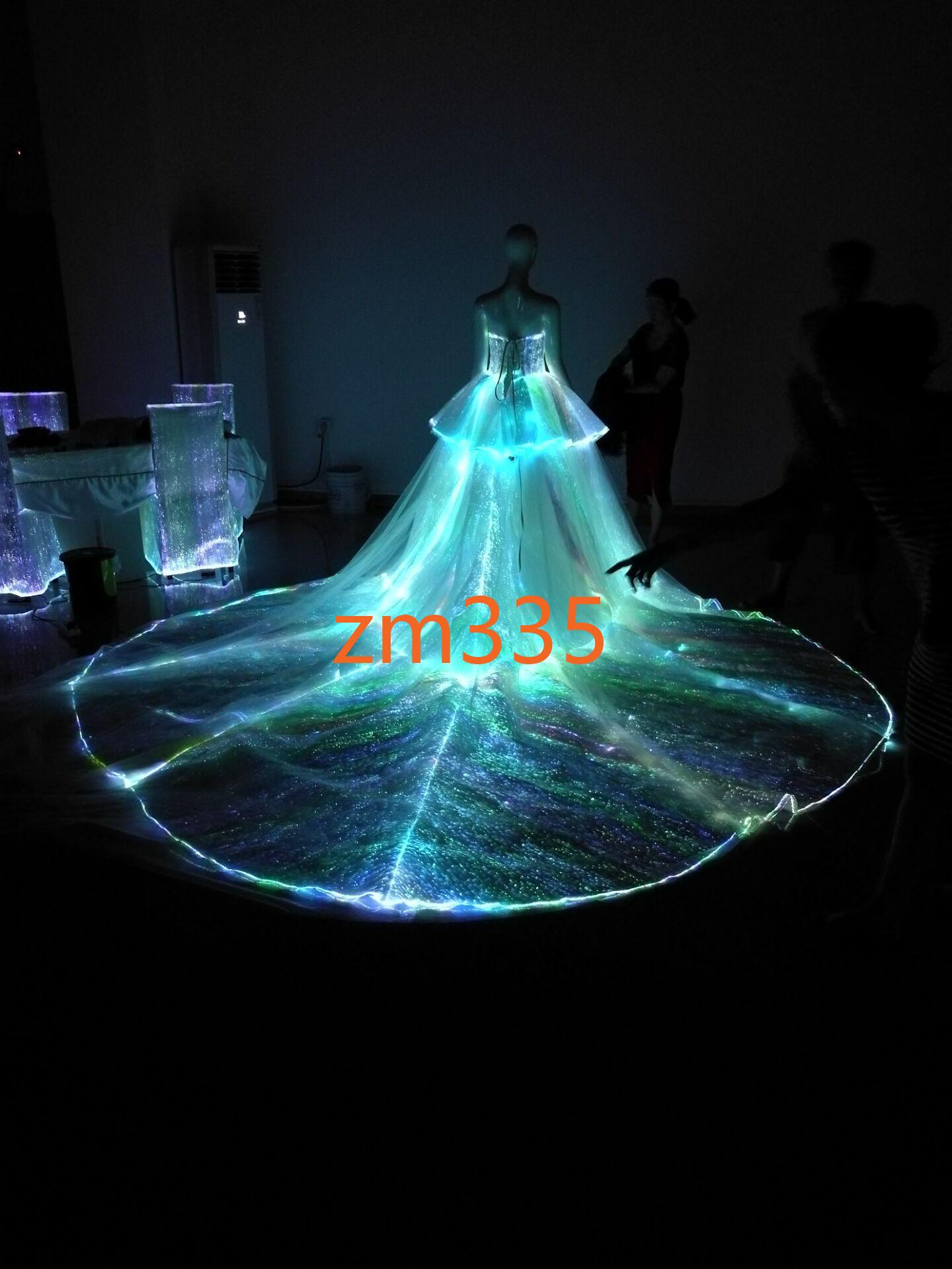 Fashion Luxury Light Up Fiber Optic Material + Lace Led Tail Wedding ...