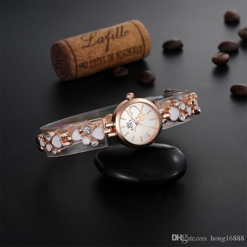 Nuevo 2016 mujeres de alta calidad relojes de pulsera hoja en forma de reloj inoxidable SOXY mujeres Rhinestone reloj de pulsera de cuarzo al por mayor envío gratuito