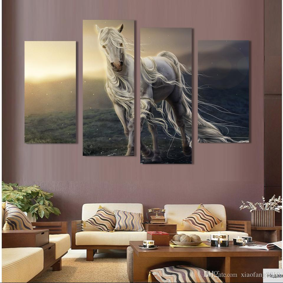 4 Pane Running White Horse Wall Print Painting Canvas Large Art HD animal Picture Home Decoration For Living Room,No Frame