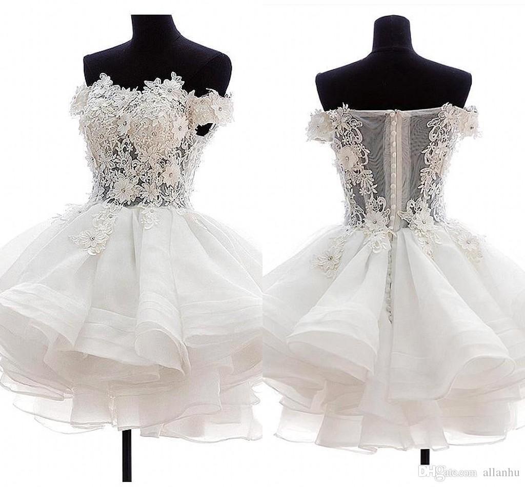 Mini Sexy Branco Marfim Vestidos de Cocktail Curto Strapless Organza 3D Floral Applique Ilusão de Volta Inchado Homecoming Vestidos de Festa vestidos
