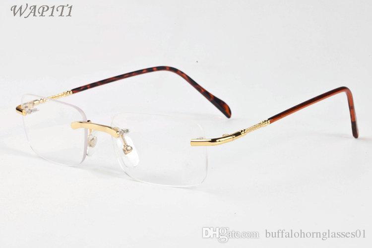 2017 Vintage Rimless Sunglasses Brand Designer Sunglasses For Men Women  Metal Alloy Frame Mirror Clear Lens For Female Male Eyewear Circle  Sunglasses Glass ...