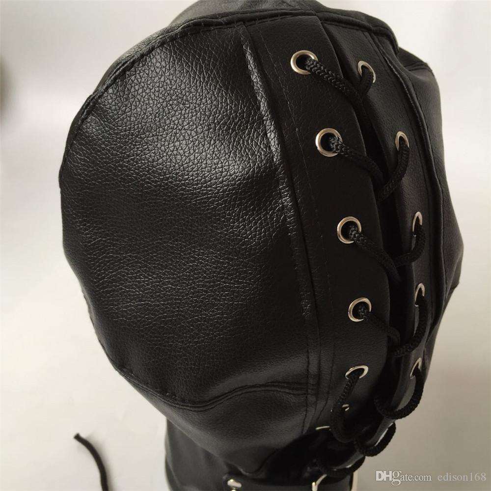 2018 Hot Soft Leather Bondage Hood Headgear Face Mask Eyepatch With Nostril Dog Slave Adult BDSM Bed Games Sex Product Flirting Toy