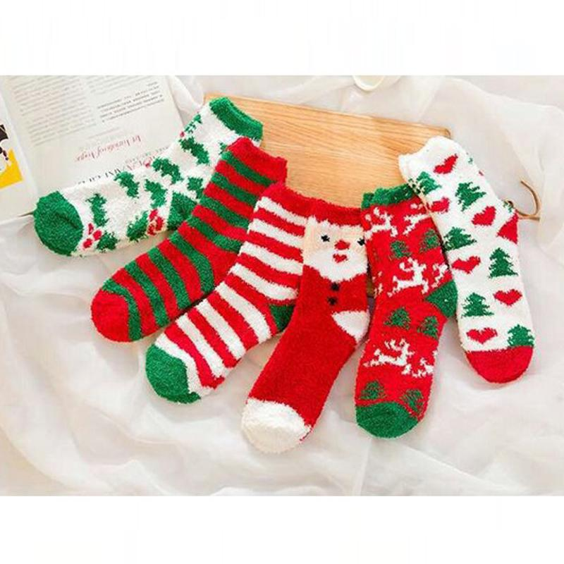 Merry Christmas Autumn Winter female cartoon coral fleece gift thickening thermal sleeping towel maternity knee-high short wholesale