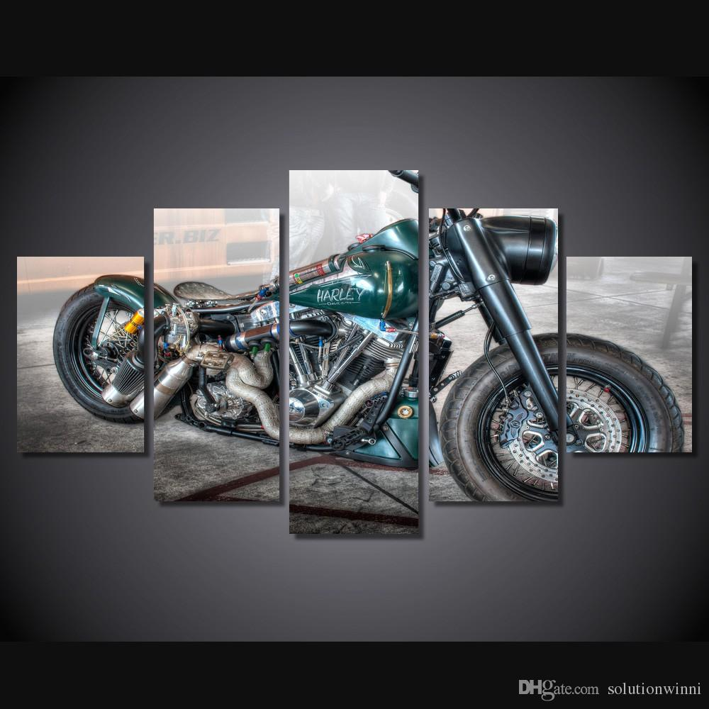 Uncategorized Motorcycle Pictures To Print 2017 hd printed pretty retro motorcycle painting canvas print room decor poster picture green painted from solution
