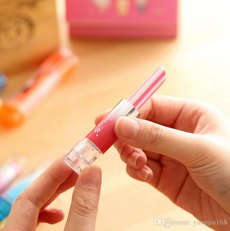 Creativo lindo Kawaii lápiz labial borrador de goma para niños estudiante regalo novedad elemento de la escuela suministros envío gratis G1016