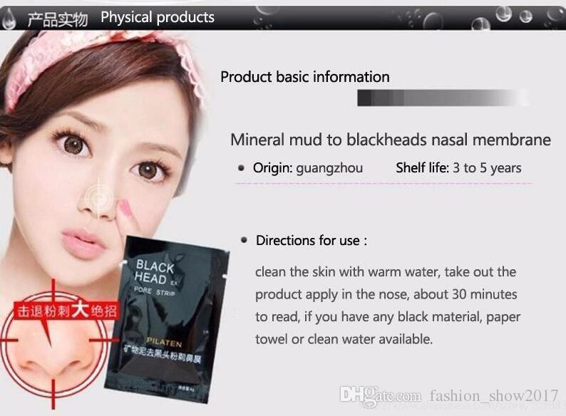 Pilaten Maschera facciale nera Cura del viso Naso Acne Rimozione di comedone Minerali Maschera detergente pori Striscia di testa nera maquiagem