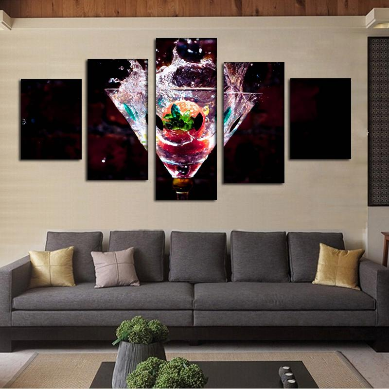 Kitchen Dinning Bar Decor 5 Panel Fruits Painting Modern Canvas Art  Unframed Gift Painting Wall Art