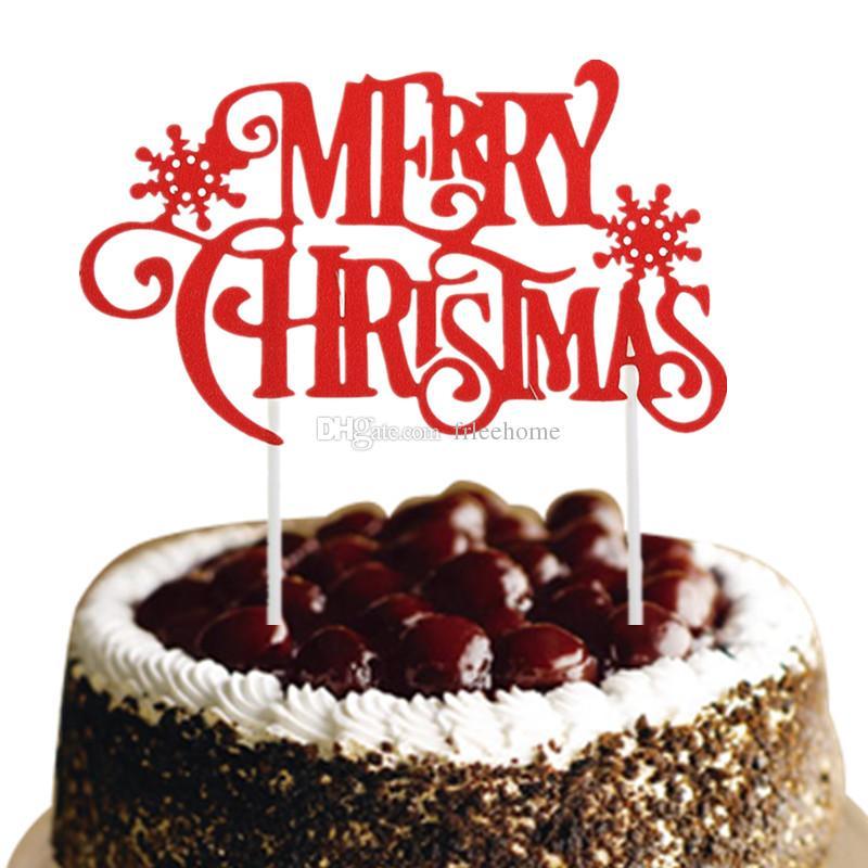 Gateau De Fete De Noel.Acheter Joyeux Noël Gâteau Topper Or Argent Rouge Noël Gâteau De Neige Drapeaux Glittler Gâteau De Fête De Noël Cuisson Décor Décor De Noël