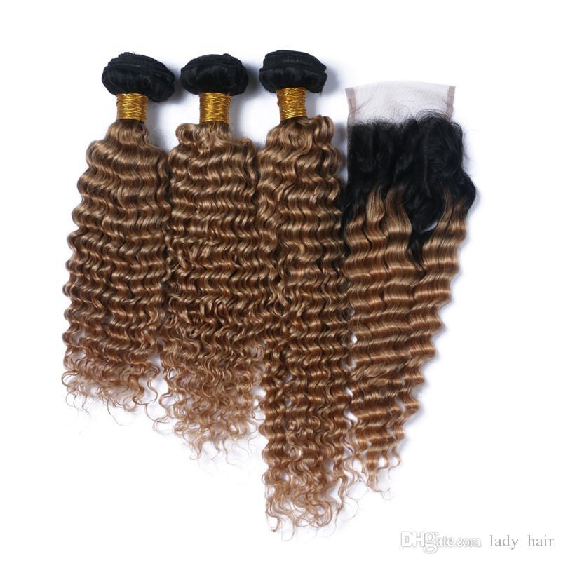 Mallas peruanas marrones claras de Ombre del pelo de la onda con el cierre / # 1B / 27 Honey Human Human Hair 3Bundles con el encierro 4x4 del cordón