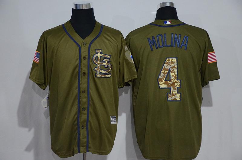 8b58e7792 ... greece 2018 st. louis cardinals jersey mens 4 yadier molina army green  camo letters salute