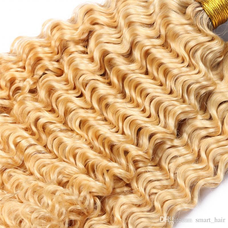أومبير شقراء اللون موجة عميقة لحمة الشعر التمديد 10-30 بوصة الظلام الجذور غير المجهزة البرازيلي العذراء 1B 613 عميق مجعد الشعر 3 حزم