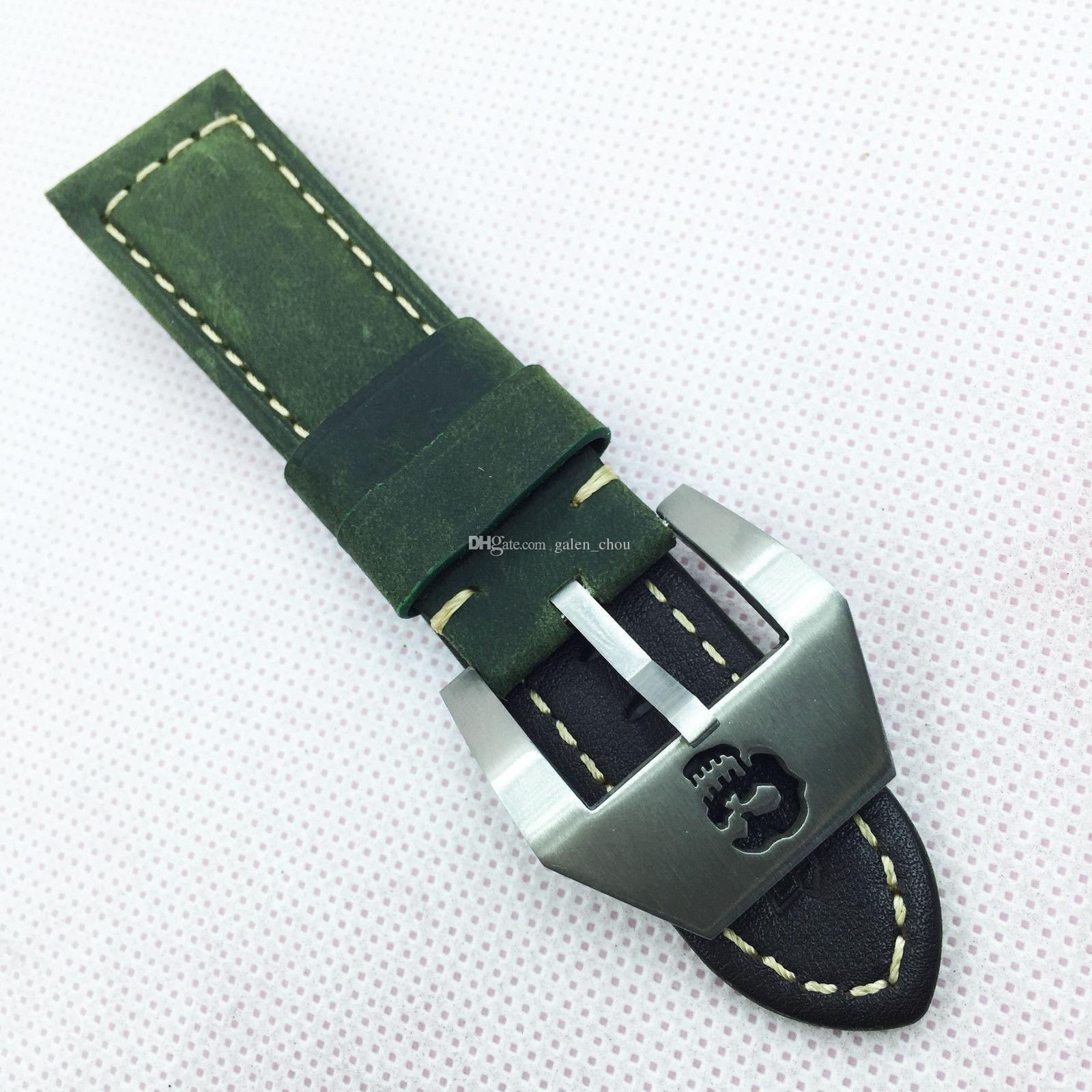 24mm 120mm / 75mm luxo boa qualidade verde nubuck bezerro banda de couro de aço prateado iluminação parafuso fivela cinta