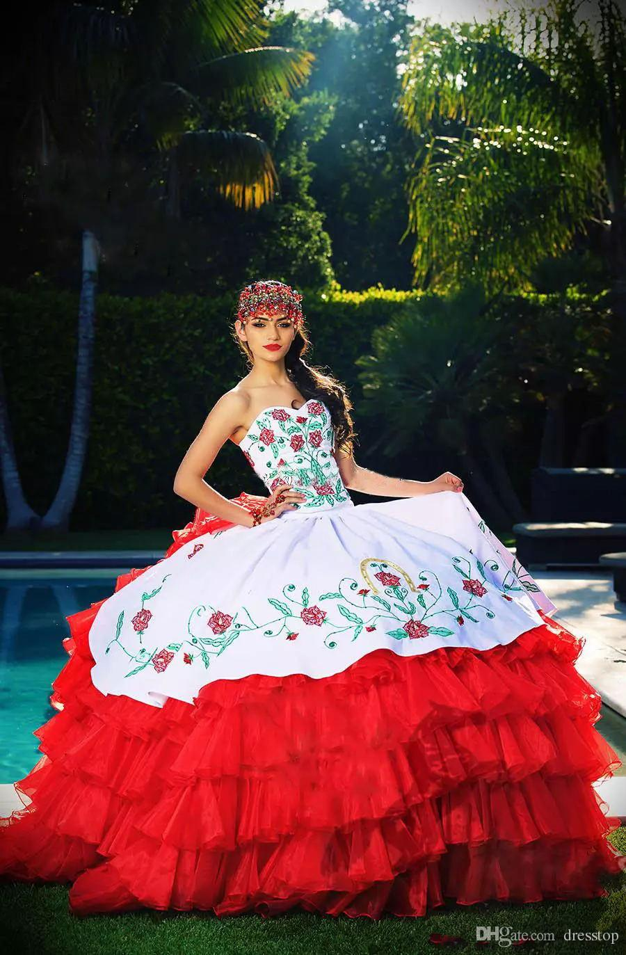 a131e23d7ba 2017 Ball Gown Quinceanera Dresses White And Red Tiered Draped Sweetheart  Embroidery New Formal Dress Sweet 16 Prom Gown Yellow Quinceanera Dresses  Black ...