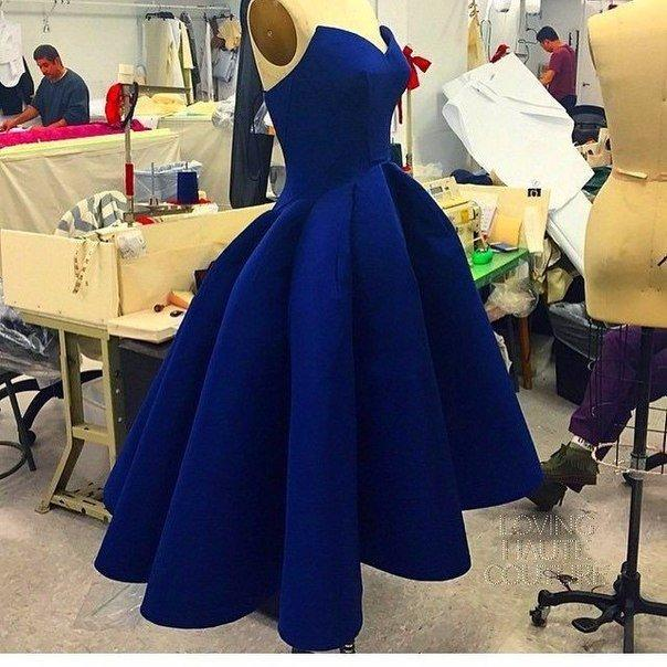 short blue yellow or red prom dresses