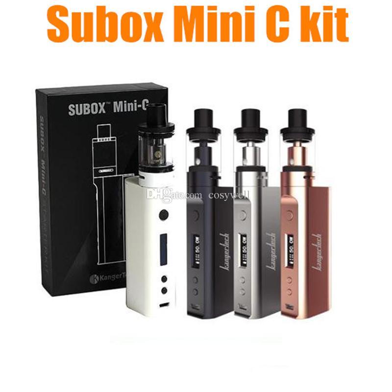 100% Original Kangertech Subox Mini-C Starter Kits 50W Subox Mini C 18650 Box Mod 3ml Top Filling Leak Free Tank
