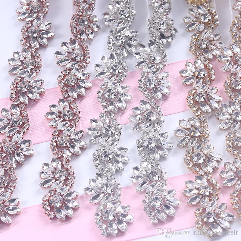5 Metre Rhinestones Trim Demir On Gelinlik Kemer Üzerinde Gül Altın Gümüş Rhinetones Temizle Boncuk Kristal Dikiş DIY Gelin Sashes