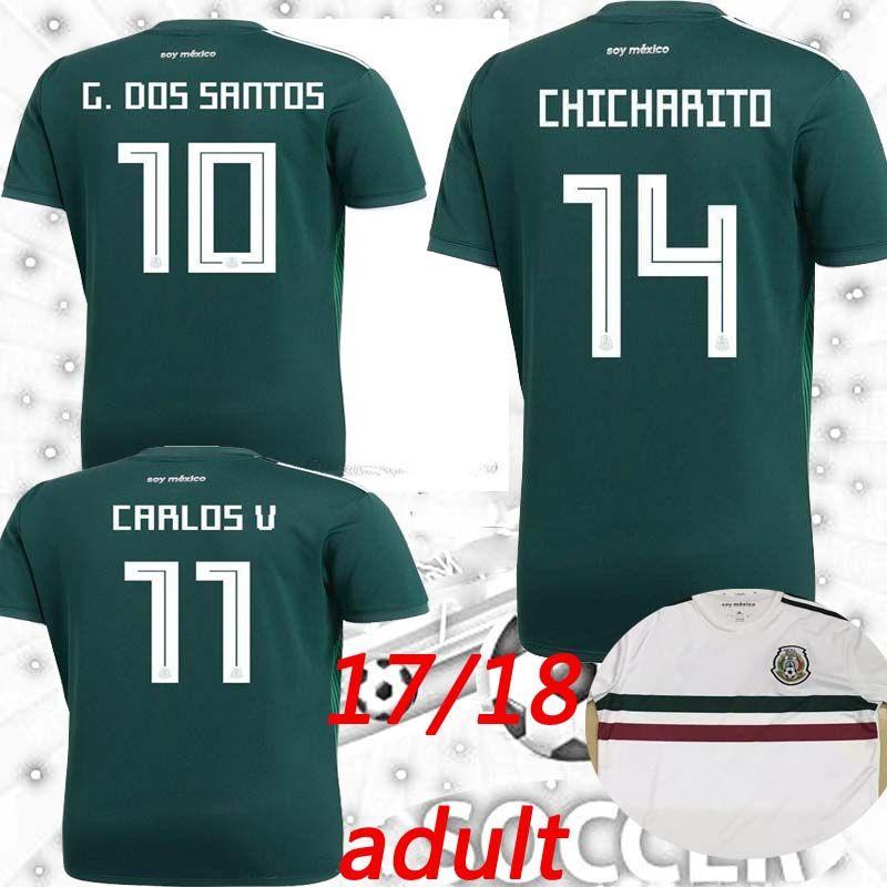 Mexico Jersey 2018 World Cup Green  10 G.DOS SANTOS  7 M.LAYUN  14 ... b9c416180