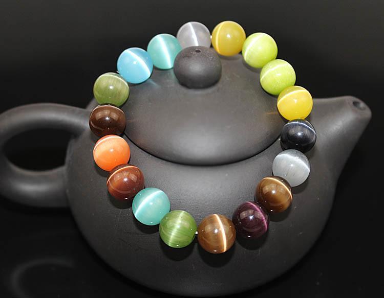 Multi Color Cat Eye Charm Bracelet semi-précieuses 10MM 8MM perles rondes en pierre Bracelet pour les femmes bijoux de mariée amour cadeau B697S