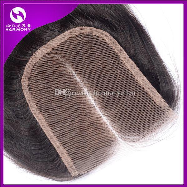 Fechamento de renda Onda do corpo da Malásia Fechamento de cabelo humano Parte do meio Fechamento de renda Nós descorados Produtos para o cabelo de harmonia Cor natural 8 '' - 24 ''