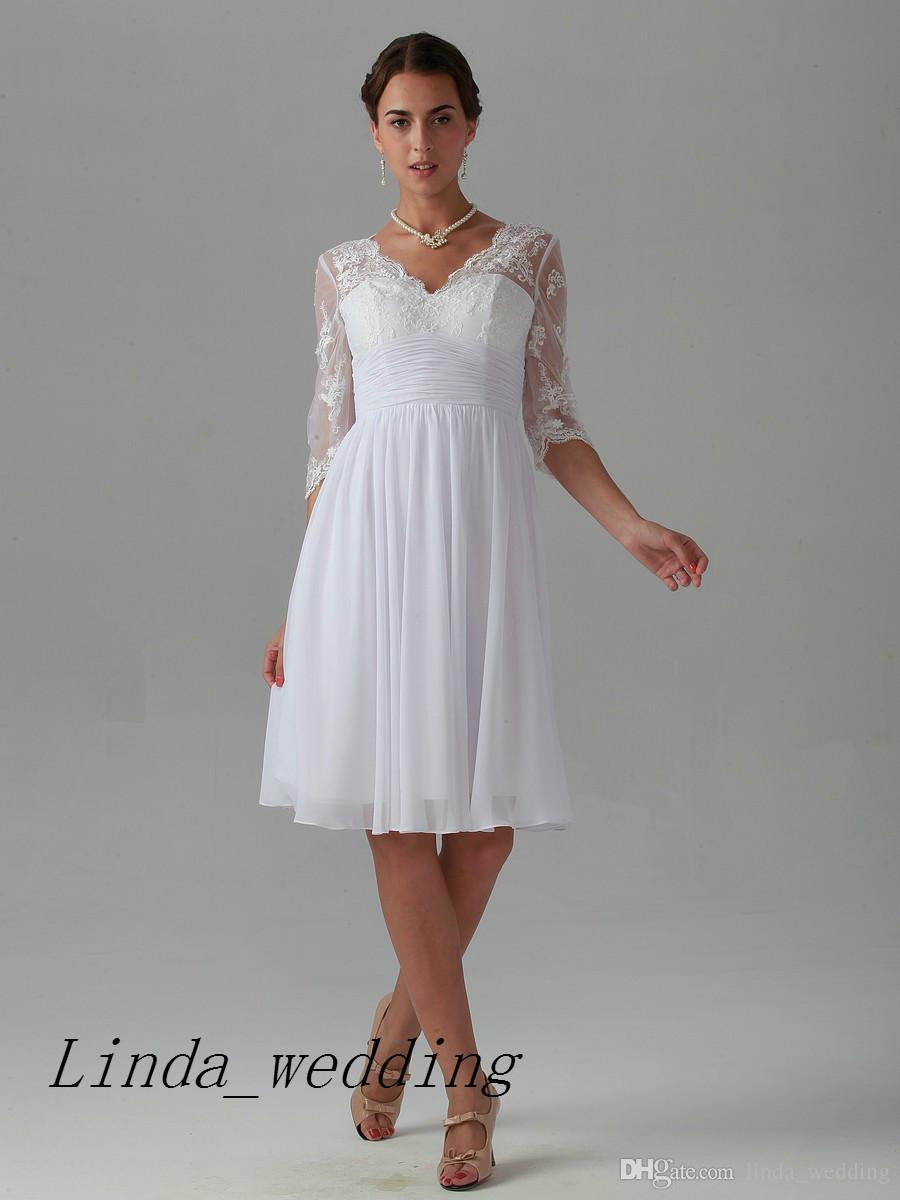 Vestito da donna da abito da sposa in pizzo chiffon corto al ginocchio con lunghezza al ginocchio di alta qualità di trasporto libero