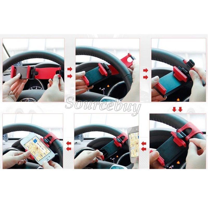 Universal Car telefone Steering celular roda soquete Holder Clip Car bicicleta Mount Stand Holder GPS Telefone iphone flexível estender-se a 76 milímetros grátis DHL
