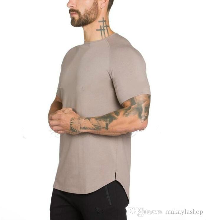 브랜드 체육관 의류 피트니스 티셔츠 남성 패션 연장 힙합 여름 짧은 소매 티셔츠 면화 보디 빌딩 근육 엔지니어
