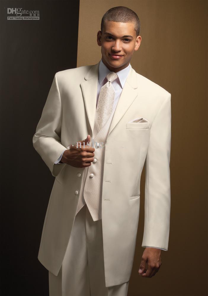 Vente chaude ivoire revers revers marié smokings garçons d'honneur hommes costumes de mariage vêtements de bal veste + pantalon + gilet + cravate