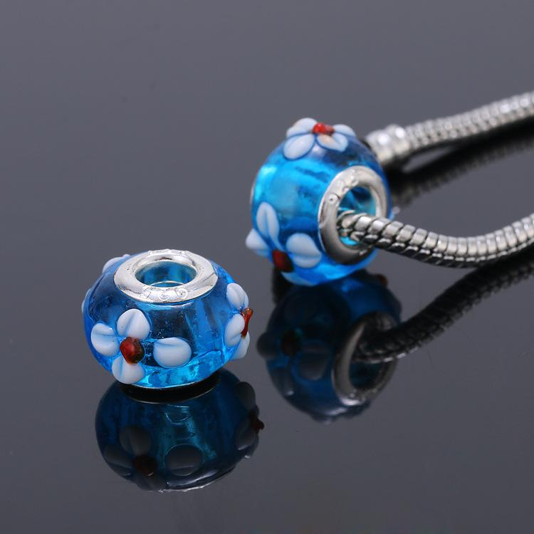 14 MM Acrílico Europeu Encantos Grânulos de Prata Banhado A Corda Grande Buraco Solta Talão Fit Pandora Encantos Pulseira Jóias Encontrar
