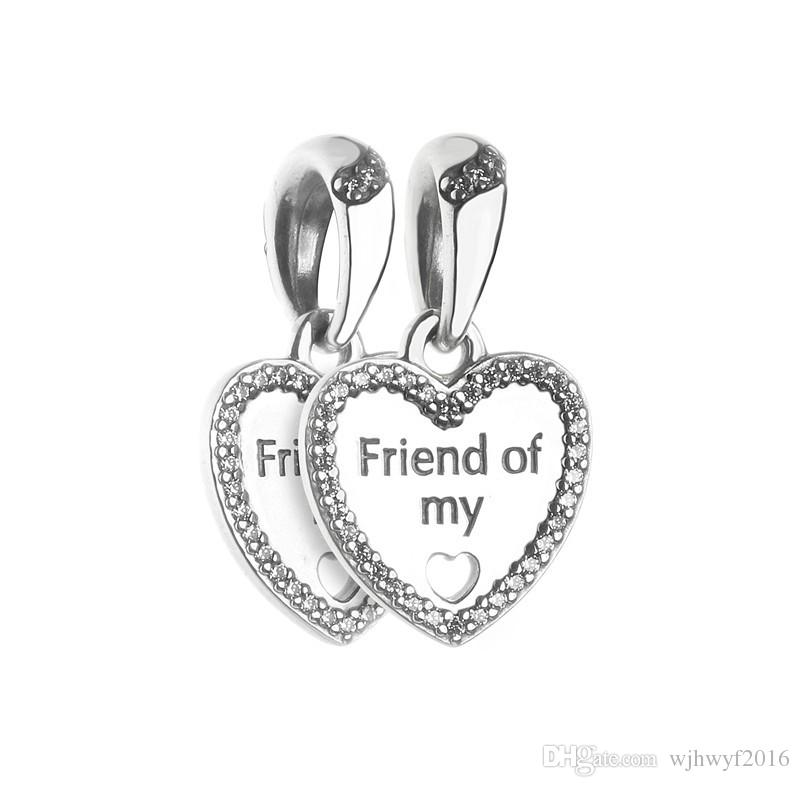 5c8d8c862 2019 Friend Of My Charms Pendants Authentic 925 Sterling Silver Dangle Friendship  Heart Beads For DIY Charm Bracelets Jewelry Making Accessories From ...