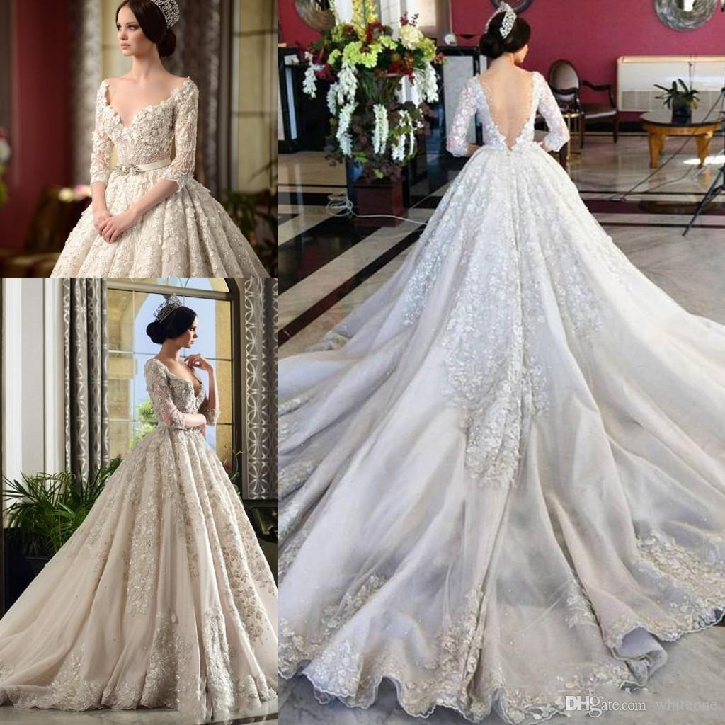37f2b97091bb Discount 2017 Arabic Style Luxury A Line Wedding Dresses V Neck Half Long  Sleeves 3D Floral Appliques Cathedral Train Backless Bridal Wedding Gowns  One ...