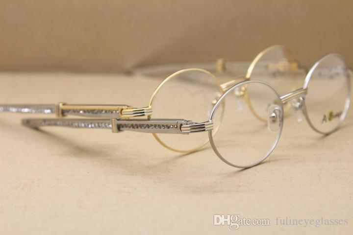 vente en gros 7550178 Lunettes diamant rond bleu verres en acier inoxydable lunettes cadres pour les hommes Cadres or C Décoration Taille: 57-22-140mm