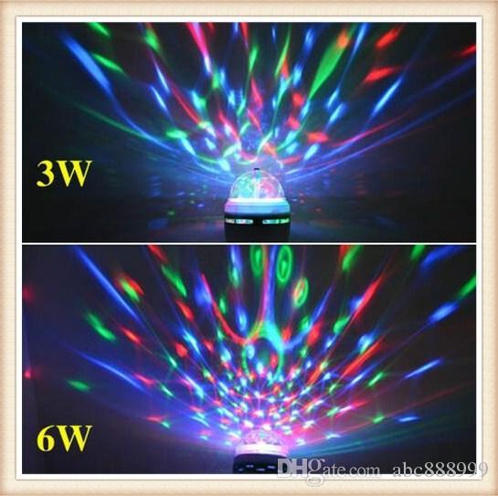 vollfarbe 3 watt 6 watt rgb led lampen e27 lampada led lampe ac 85 265 v 110 v 220 v auto rotierenden bhne lichter projektor fr dj anzeige led bulb e27 5w - Led Lampen Ewatt