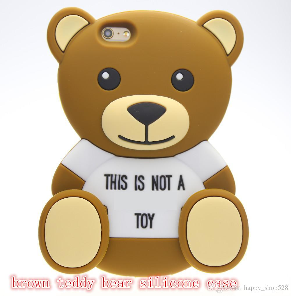3D teddy bear Cartoon animals Cute Toy brown teddy bear silicone case For iphone 4s/5 5s/SE/6/6plus Cell phone case