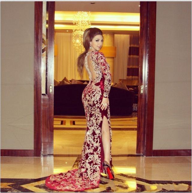아랍어 Myriam 요금 부르고뉴 브이 넥 인어 이브닝 드레스 자수 2019 패션 아프리카 공식 예복 가운