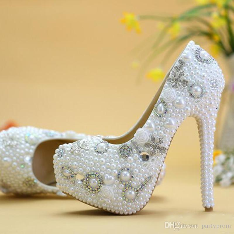 857641b0dc17 New Designer Handmade White Pearl Wedding Crystal Shoes Women High Heel  Party Prom Shoes Platform Evening Prom Heels Plus Size Shoes Heels Shop  Shoes Online ...